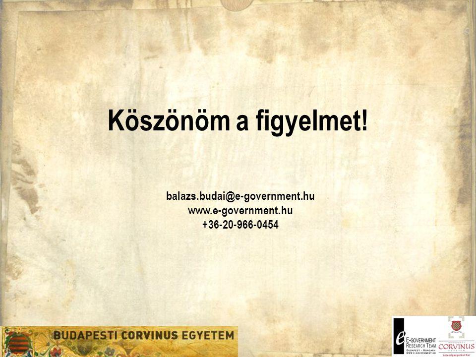 Köszönöm a figyelmet! balazs.budai@e-government.hu www.e-government.hu +36-20-966-0454