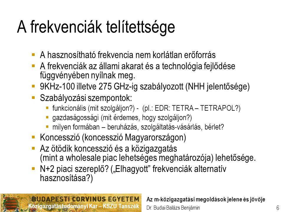Közigazgatástudományi Kar – KSZU Tanszék Dr. Budai Balázs Benjámin Az m-közigazgatási megoldások jelene és jövője 6 A frekvenciák telítettsége  A has