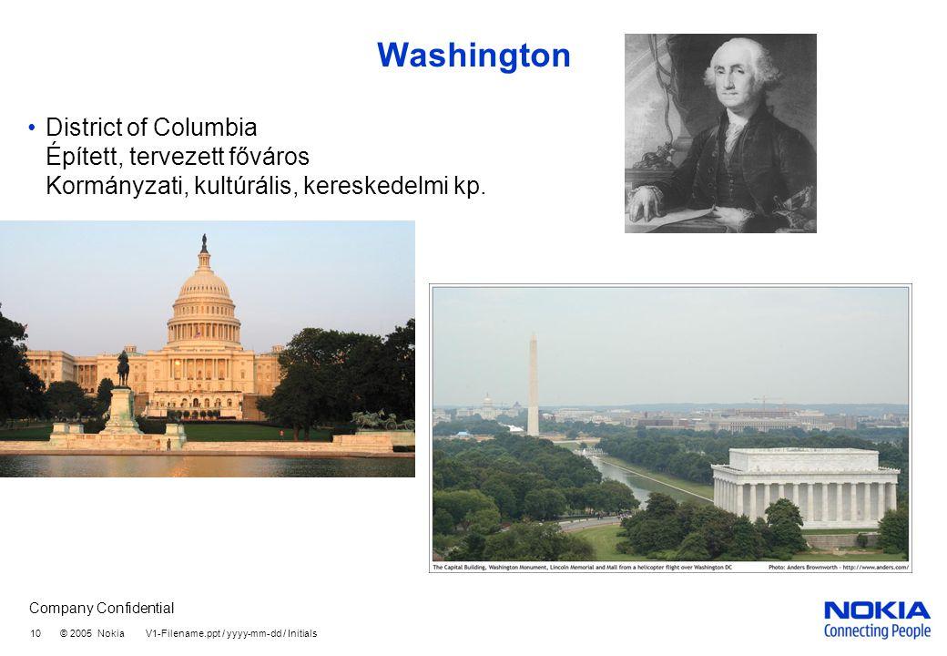 Company Confidential 10 © 2005 Nokia V1-Filename.ppt / yyyy-mm-dd / Initials Washington •District of Columbia Épített, tervezett főváros Kormányzati, kultúrális, kereskedelmi kp.