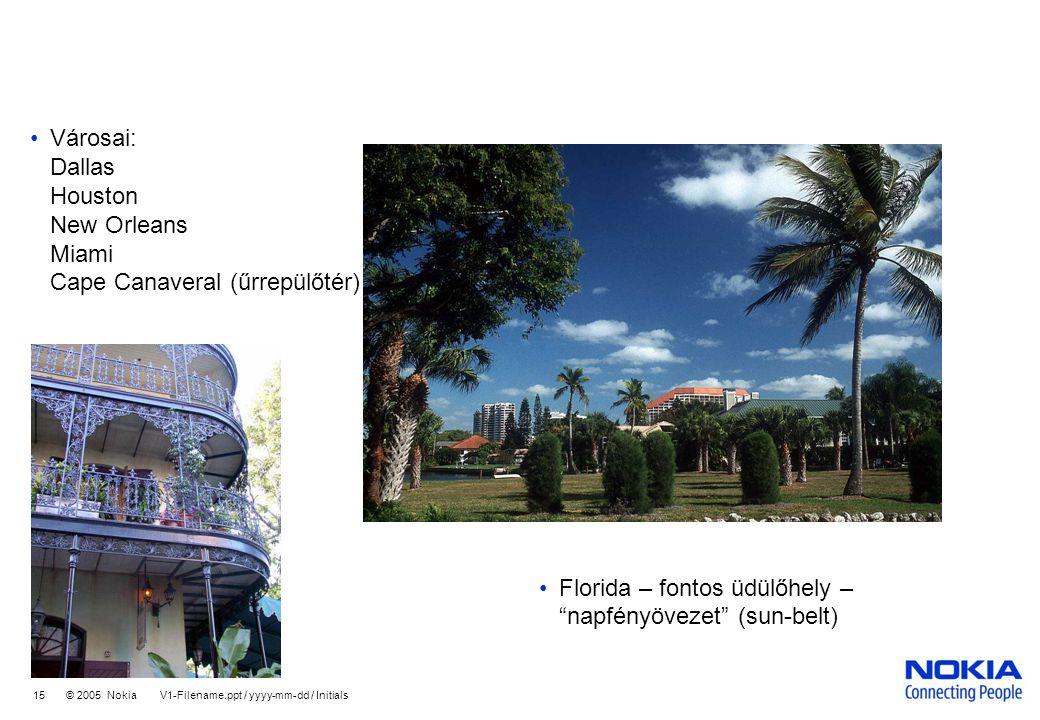 Company Confidential 15 © 2005 Nokia V1-Filename.ppt / yyyy-mm-dd / Initials •Városai: Dallas Houston New Orleans Miami Cape Canaveral (űrrepülőtér) •Florida – fontos üdülőhely – napfényövezet (sun-belt)