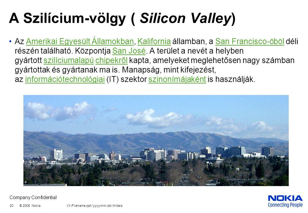 Company Confidential A Szilícium-völgy ( Silicon Valley) •Az Amerikai Egyesült Államokban, Kalifornia államban, a San Francisco-öböl déli részén található.