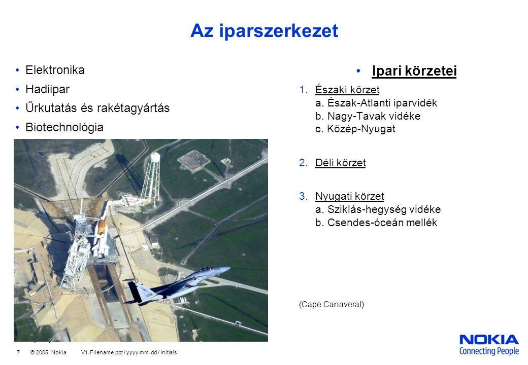 Company Confidential 7 © 2005 Nokia V1-Filename.ppt / yyyy-mm-dd / Initials Az iparszerkezet •Elektronika •Hadiipar •Űrkutatás és rakétagyártás •Biotechnológia •Ipari körzetei 1.Északi körzet a.