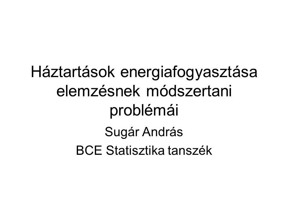 Háztartások energiafogyasztása elemzésnek módszertani problémái Sugár András BCE Statisztika tanszék