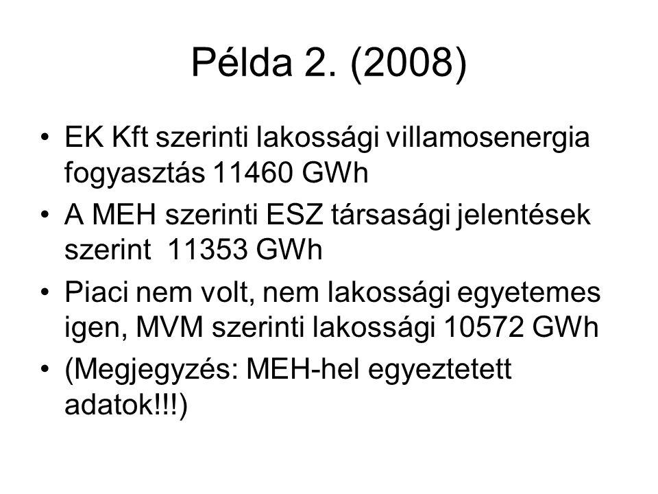 Példa 2. (2008) •EK Kft szerinti lakossági villamosenergia fogyasztás 11460 GWh •A MEH szerinti ESZ társasági jelentések szerint 11353 GWh •Piaci nem