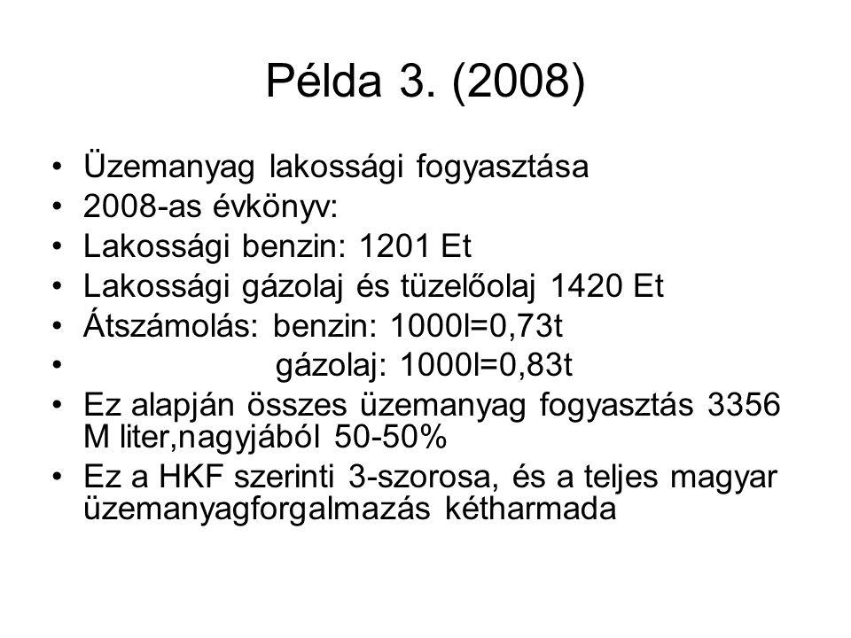 Példa 3. (2008) •Üzemanyag lakossági fogyasztása •2008-as évkönyv: •Lakossági benzin: 1201 Et •Lakossági gázolaj és tüzelőolaj 1420 Et •Átszámolás: be