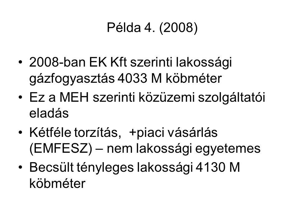 Példa 4. (2008) •2008-ban EK Kft szerinti lakossági gázfogyasztás 4033 M köbméter •Ez a MEH szerinti közüzemi szolgáltatói eladás •Kétféle torzítás, +