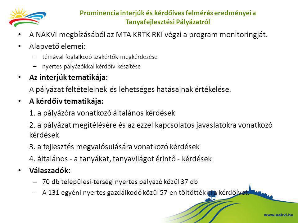 Prominencia interjúk és kérdőíves felmérés eredményei a Tanyafejlesztési Pályázatról • A NAKVI megbízásából az MTA KRTK RKI végzi a program monitoringját.