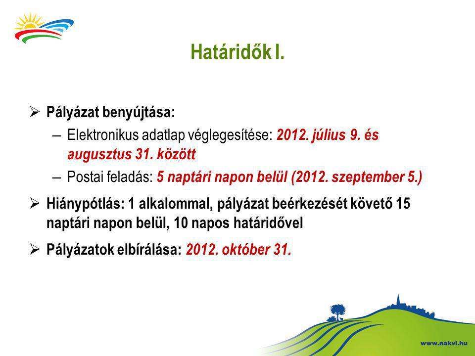 Határidők I.  Pályázat benyújtása: – Elektronikus adatlap véglegesítése: 2012.