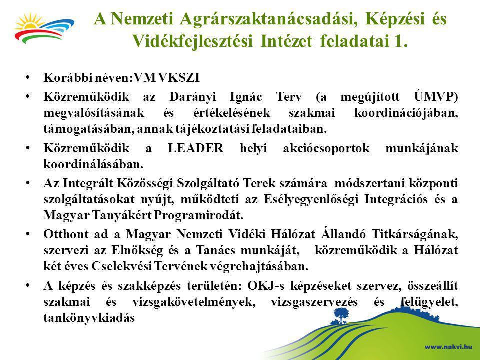 A Nemzeti Agrárszaktanácsadási, Képzési és Vidékfejlesztési Intézet feladatai 1.