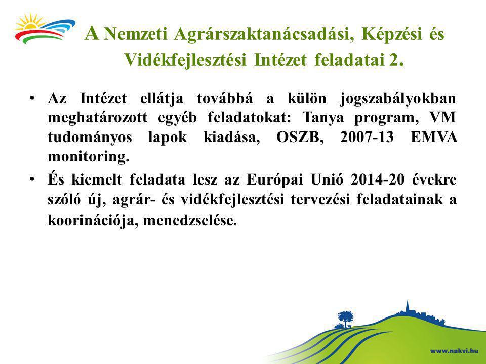 A Nemzeti Agrárszaktanácsadási, Képzési és Vidékfejlesztési Intézet feladatai 2.