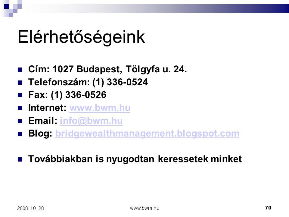 www.bwm.hu70 2008.10. 28. Elérhetőségeink  Cím: 1027 Budapest, Tölgyfa u.