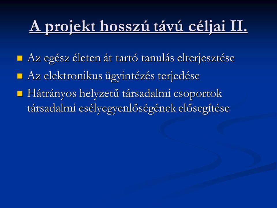 A projekt hosszú távú céljai II.