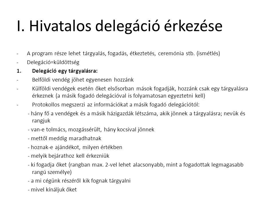 I. Hivatalos delegáció érkezése -A program része lehet tárgyalás, fogadás, étkeztetés, ceremónia stb. (ismétlés) -Delegáció=küldöttség 1.Delegáció egy