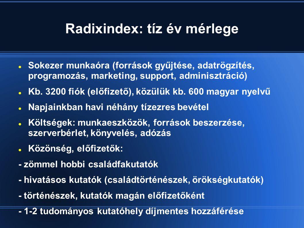 Radixindex: tíz év mérlege  Sokezer munkaóra (források gyűjtése, adatrögzítés, programozás, marketing, support, adminisztráció)  Kb.
