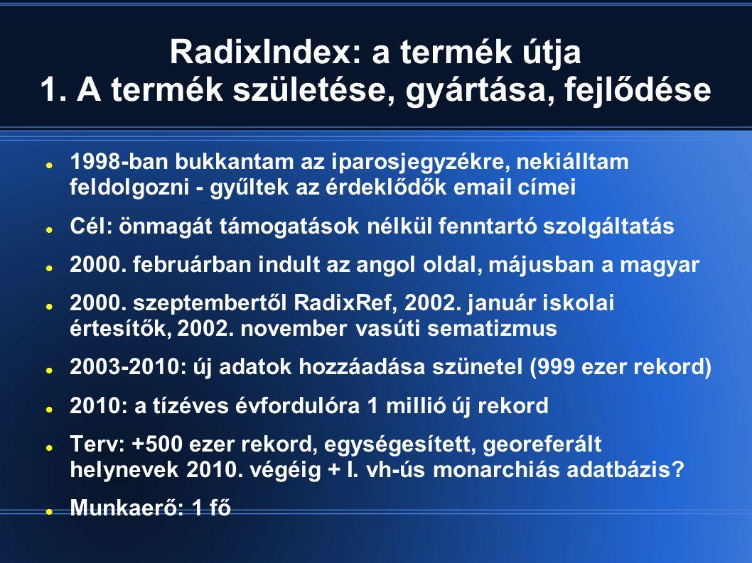 RadixIndex: a termék útja 1.