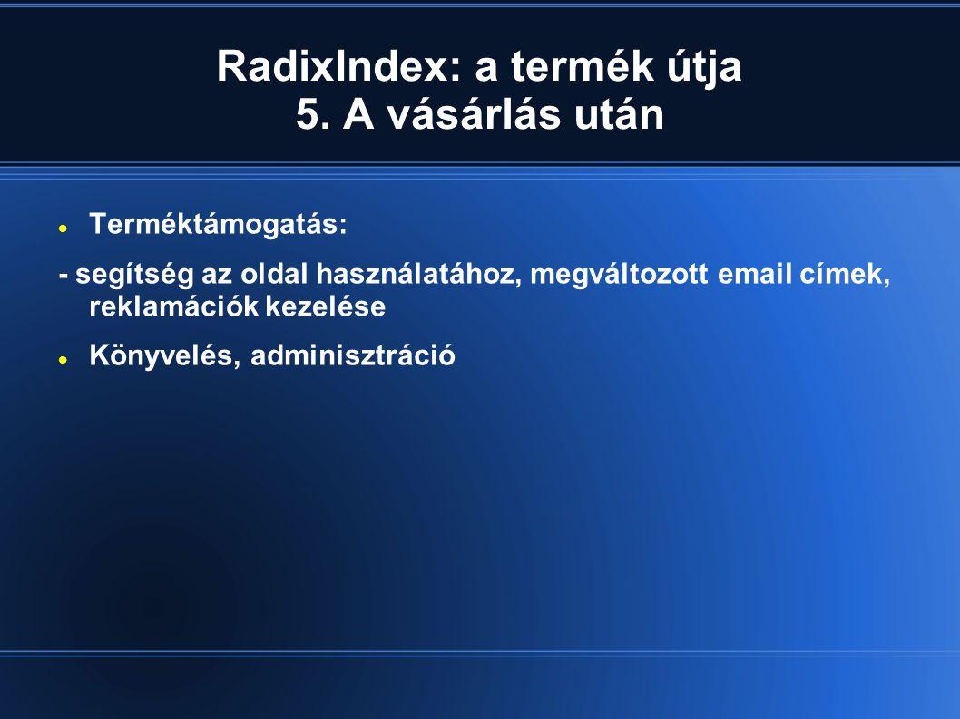 RadixIndex: a termék útja 5.