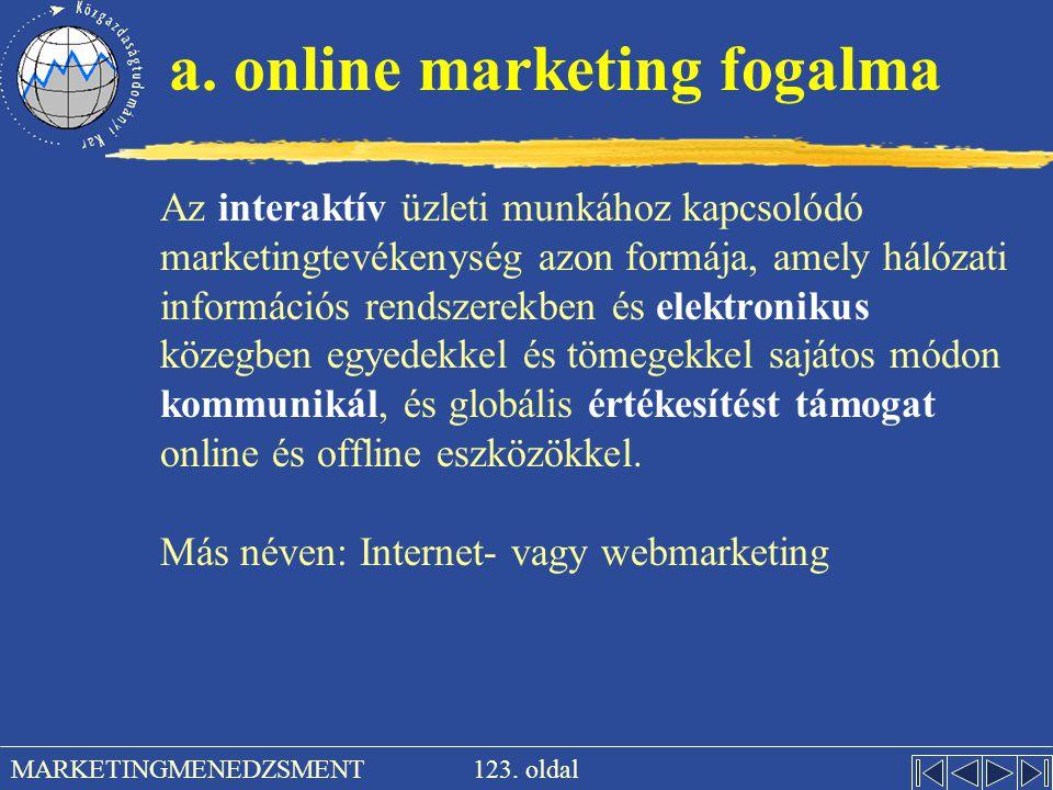 123. oldal MARKETINGMENEDZSMENT a. online marketing fogalma Az interaktív üzleti munkához kapcsolódó marketingtevékenység azon formája, amely hálózati