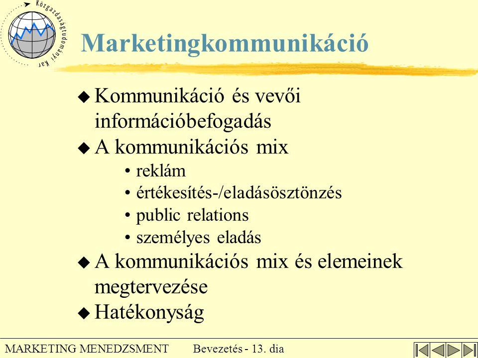 Bevezetés - 13. dia MARKETING MENEDZSMENT Marketingkommunikáció u Kommunikáció és vevői információbefogadás u A kommunikációs mix •reklám •értékesítés