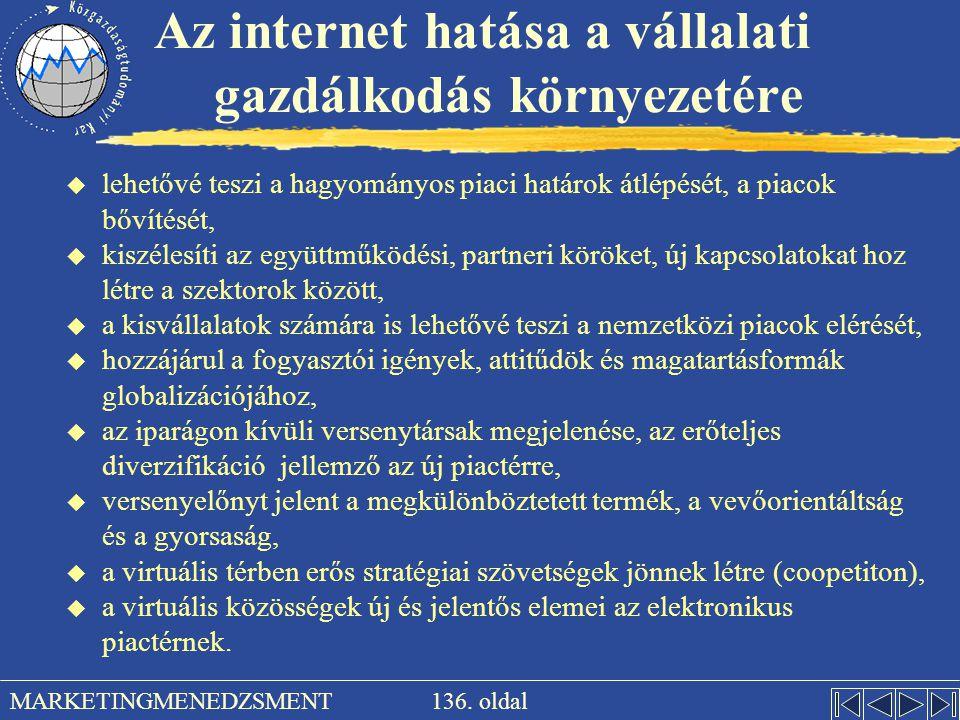 136. oldal MARKETINGMENEDZSMENT Az internet hatása a vállalati gazdálkodás környezetére u lehetővé teszi a hagyományos piaci határok átlépését, a piac
