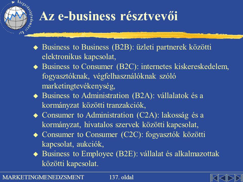137. oldal MARKETINGMENEDZSMENT Az e-business résztvevői u Business to Business (B2B): üzleti partnerek közötti elektronikus kapcsolat, u Business to
