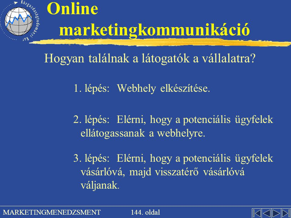 144. oldal MARKETINGMENEDZSMENT Online marketingkommunikáció Hogyan találnak a látogatók a vállalatra? 1. lépés: Webhely elkészítése. 2. lépés: Elérni