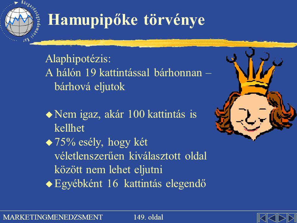 149. oldal MARKETINGMENEDZSMENT Hamupipőke törvénye Alaphipotézis: A hálón 19 kattintással bárhonnan – bárhová eljutok u Nem igaz, akár 100 kattintás