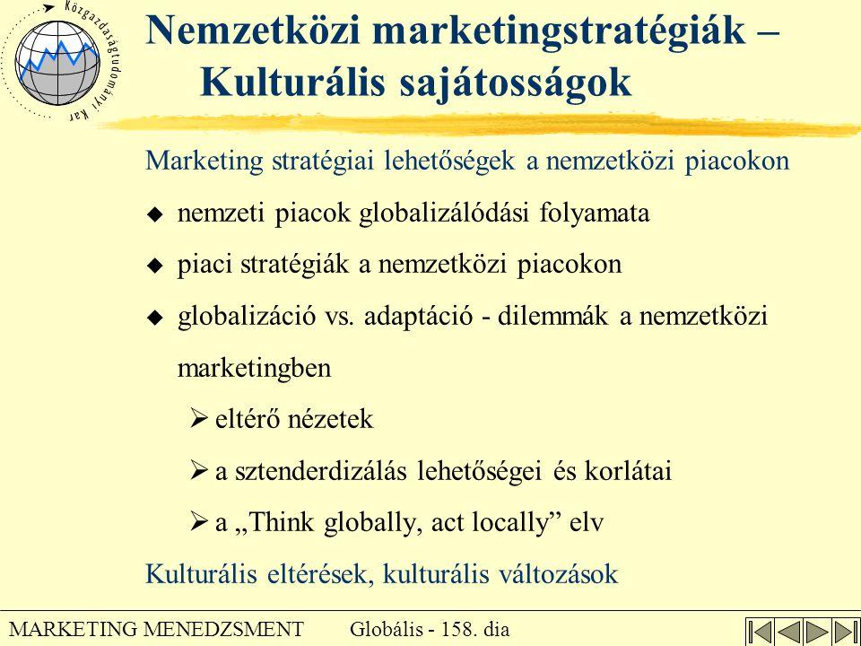 Globális - 158. dia MARKETING MENEDZSMENT Nemzetközi marketingstratégiák – Kulturális sajátosságok Marketing stratégiai lehetőségek a nemzetközi piaco