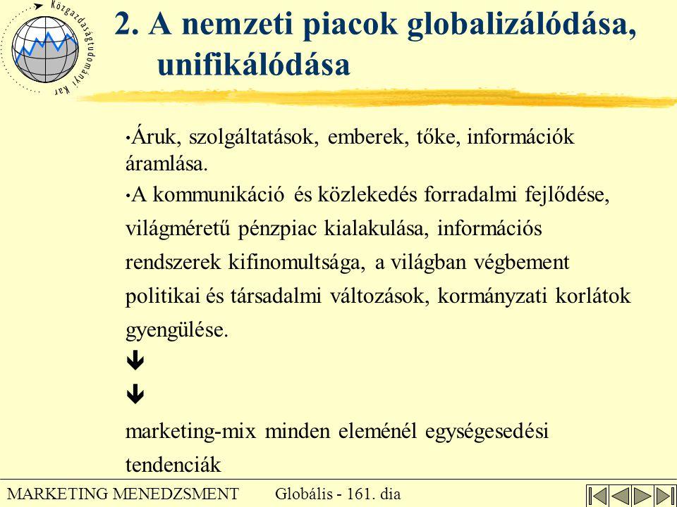 Globális - 161. dia MARKETING MENEDZSMENT 2. A nemzeti piacok globalizálódása, unifikálódása • Áruk, szolgáltatások, emberek, tőke, információk áramlá