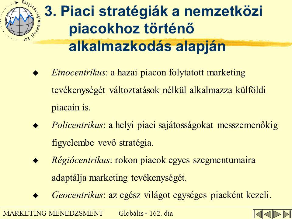 Globális - 162. dia MARKETING MENEDZSMENT 3. Piaci stratégiák a nemzetközi piacokhoz történő alkalmazkodás alapján u Etnocentrikus: a hazai piacon fol