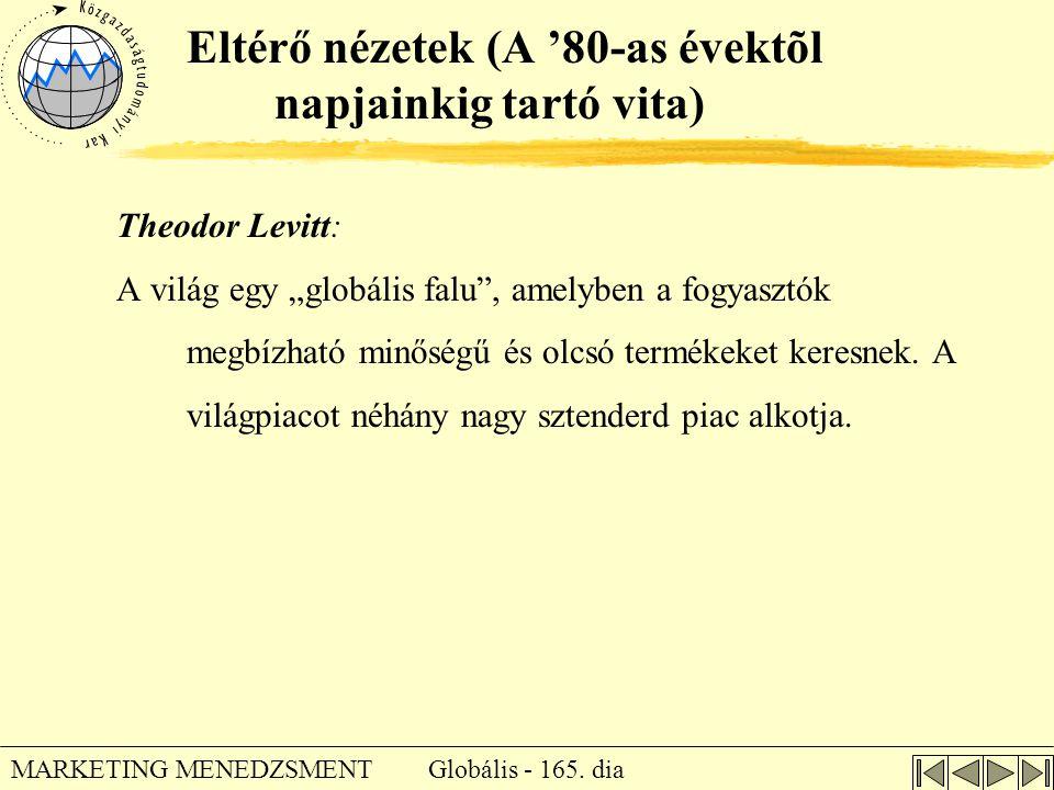 """Globális - 165. dia MARKETING MENEDZSMENT Eltérő nézetek (A '80-as évektõl napjainkig tartó vita) Theodor Levitt: A világ egy """"globális falu"""", amelybe"""