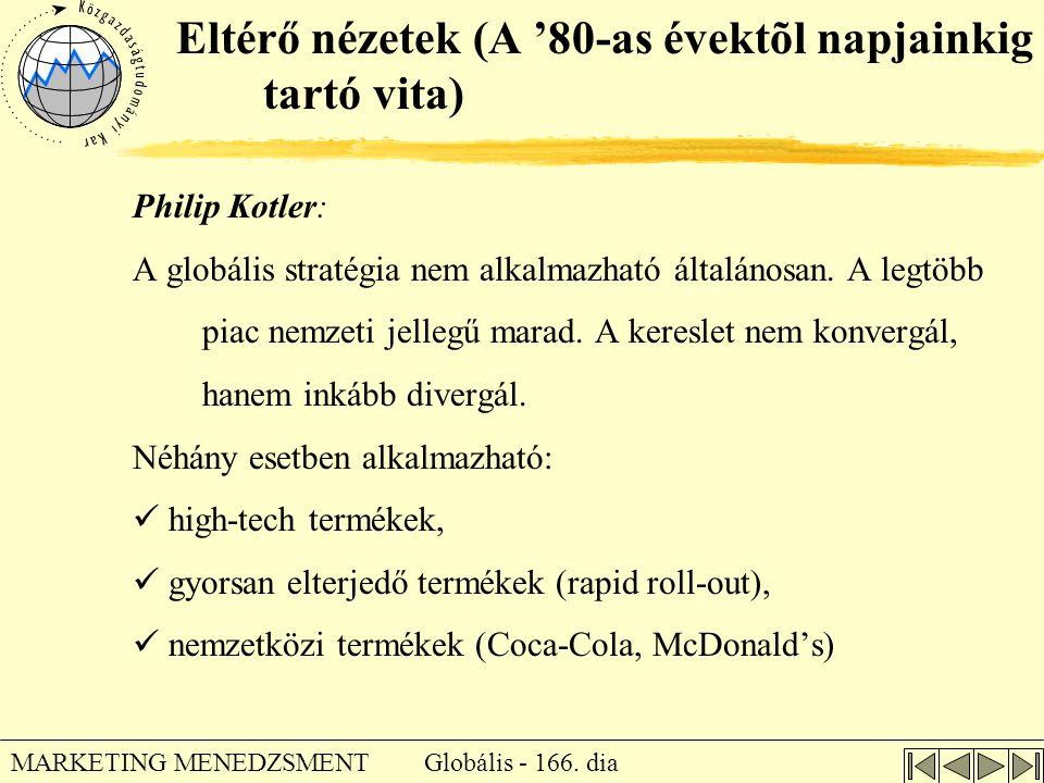 Globális - 166. dia MARKETING MENEDZSMENT Eltérő nézetek (A '80-as évektõl napjainkig tartó vita) Philip Kotler: A globális stratégia nem alkalmazható