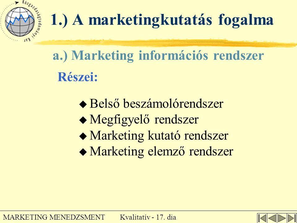 Kvalitatív - 17. dia MARKETING MENEDZSMENT a.) Marketing információs rendszer Részei: 1.) A marketingkutatás fogalma u Belső beszámolórendszer u Megfi