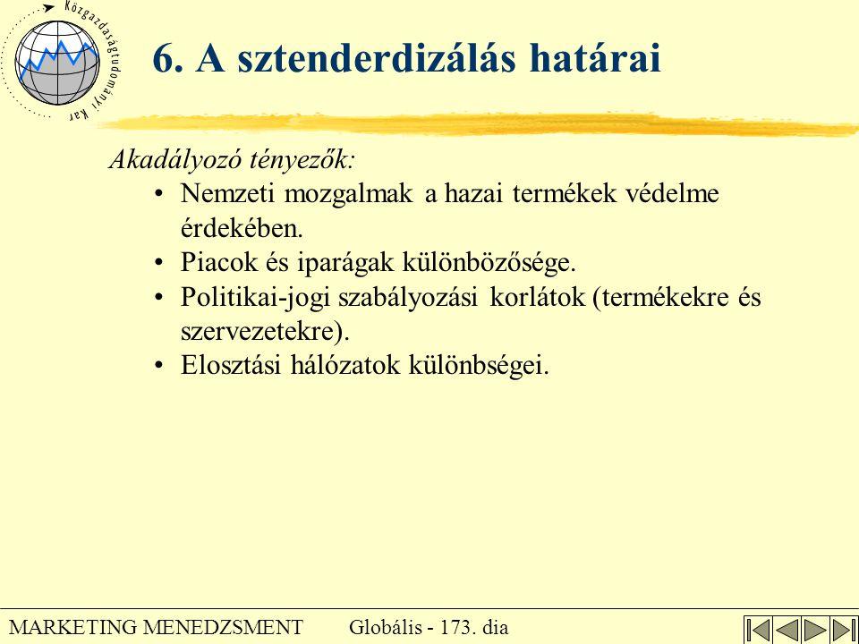 Globális - 173. dia MARKETING MENEDZSMENT 6. A sztenderdizálás határai Akadályozó tényezők: •Nemzeti mozgalmak a hazai termékek védelme érdekében. •Pi