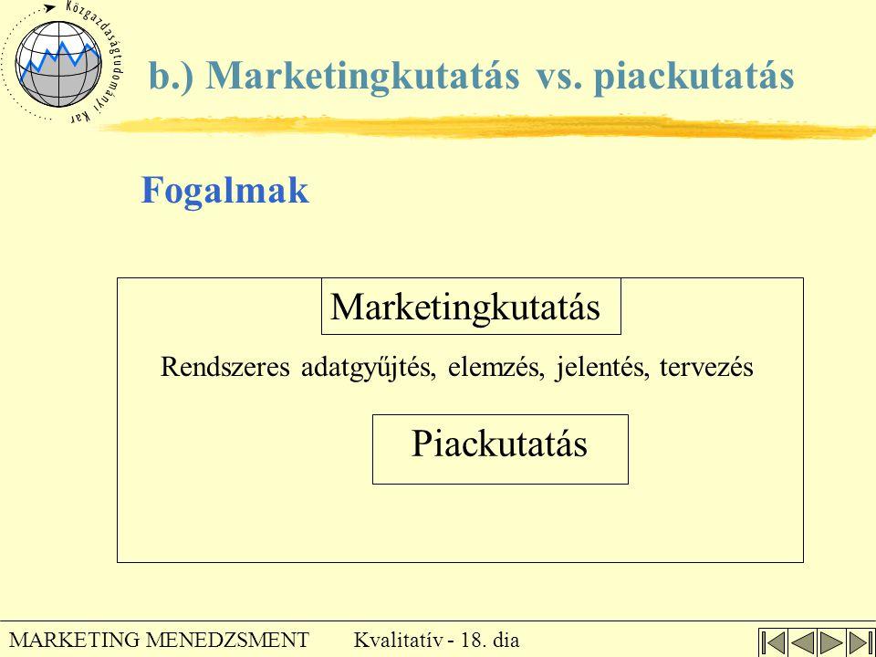 Kvalitatív - 18. dia MARKETING MENEDZSMENT Piackutatás b.) Marketingkutatás vs. piackutatás Marketingkutatás Rendszeres adatgyűjtés, elemzés, jelentés