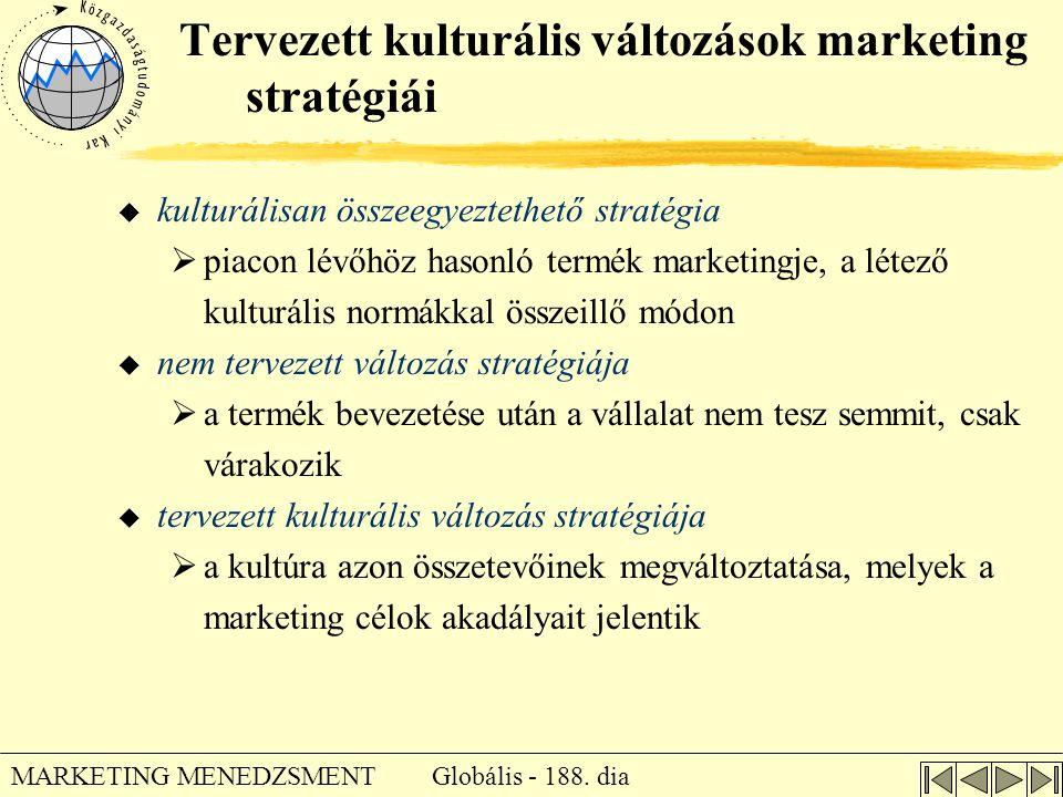 Globális - 188. dia MARKETING MENEDZSMENT Tervezett kulturális változások marketing stratégiái u kulturálisan összeegyeztethető stratégia  piacon lév