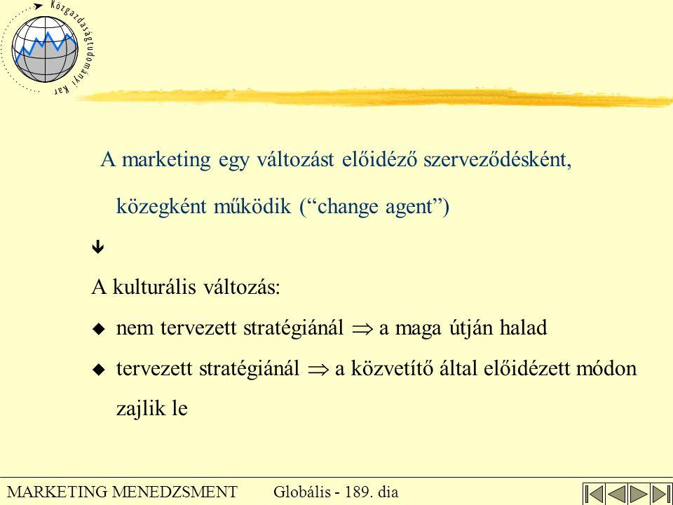 """Globális - 189. dia MARKETING MENEDZSMENT A marketing egy változást előidéző szerveződésként, közegként működik (""""change agent"""")  A kulturális változ"""