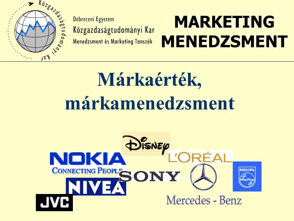MARKETING MENEDZSMENT Márkaérték, márkamenedzsment