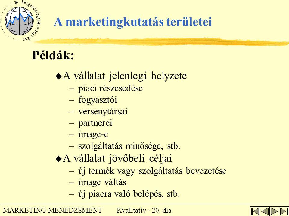Kvalitatív - 20. dia MARKETING MENEDZSMENT A marketingkutatás területei u A vállalat jelenlegi helyzete –piaci részesedése –fogyasztói –versenytársai