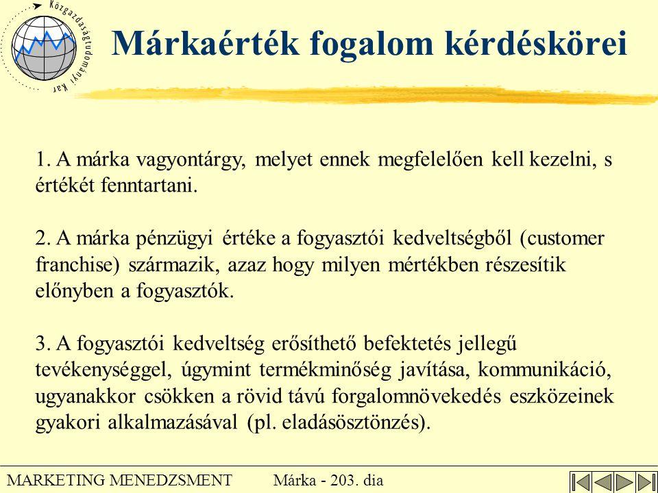 Márka - 203. dia MARKETING MENEDZSMENT Márkaérték fogalom kérdéskörei 1. A márka vagyontárgy, melyet ennek megfelelően kell kezelni, s értékét fenntar