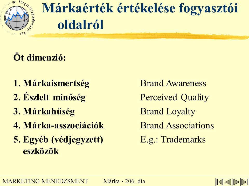 Márka - 206. dia MARKETING MENEDZSMENT Márkaérték értékelése fogyasztói oldalról Öt dimenzió: 1. MárkaismertségBrand Awareness 2. Észlelt minőségPerce