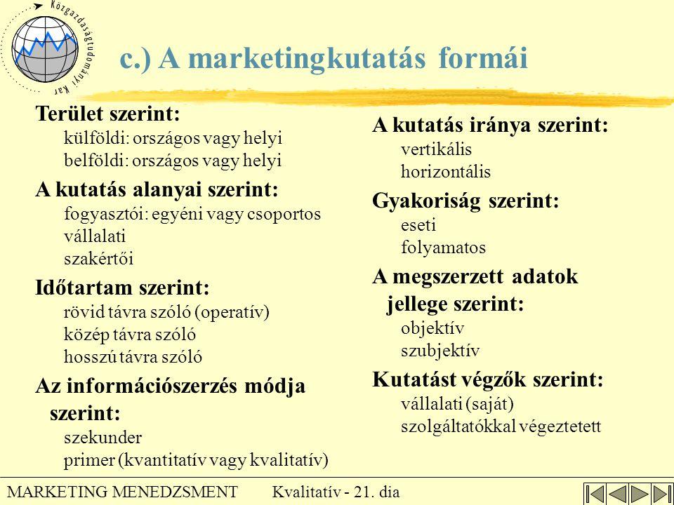 Kvalitatív - 21. dia MARKETING MENEDZSMENT c.) A marketingkutatás formái Terület szerint: külföldi: országos vagy helyi belföldi: országos vagy helyi