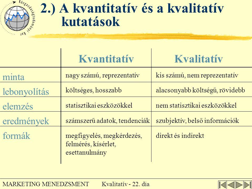 Kvalitatív - 22. dia MARKETING MENEDZSMENT 2.) A kvantitatív és a kvalitatív kutatások minta lebonyolítás elemzés eredmények formák nagy számú, reprez