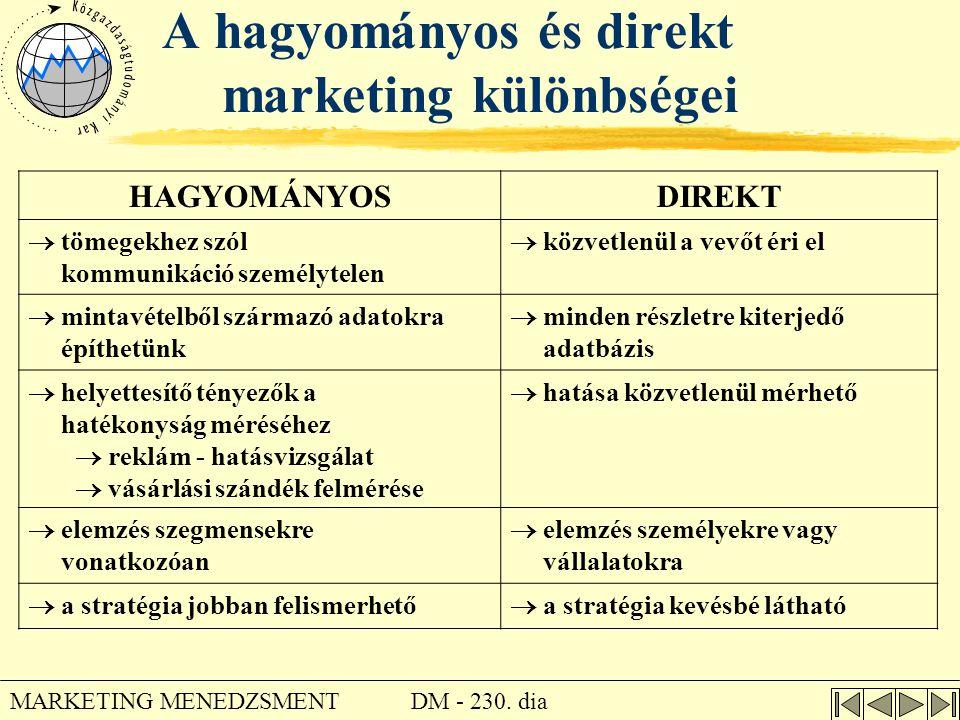 DM - 230. dia MARKETING MENEDZSMENT A hagyományos és direkt marketing különbségei HAGYOMÁNYOSDIREKT  tömegekhez szól kommunikáció személytelen  közv