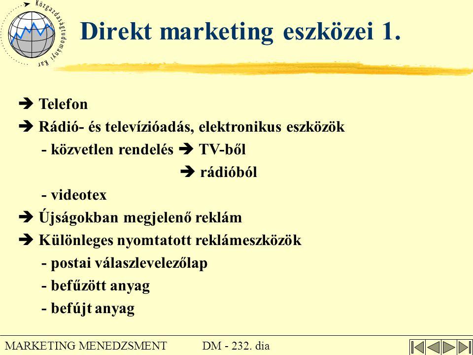 DM - 232. dia MARKETING MENEDZSMENT Direkt marketing eszközei 1.  Telefon  Rádió- és televízióadás, elektronikus eszközök - közvetlen rendelés  TV-