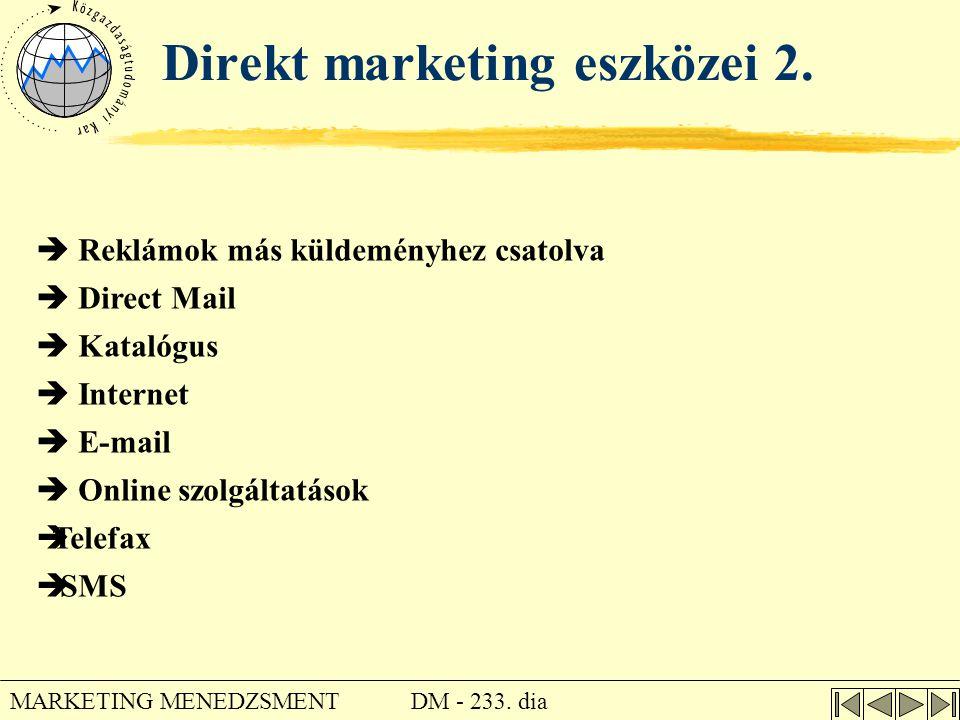 DM - 233. dia MARKETING MENEDZSMENT Direkt marketing eszközei 2.  Reklámok más küldeményhez csatolva  Direct Mail  Katalógus  Internet  E-mail 