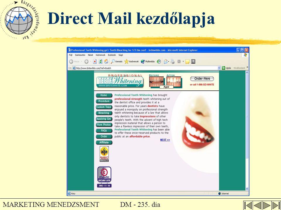 DM - 235. dia MARKETING MENEDZSMENT Direct Mail kezdőlapja