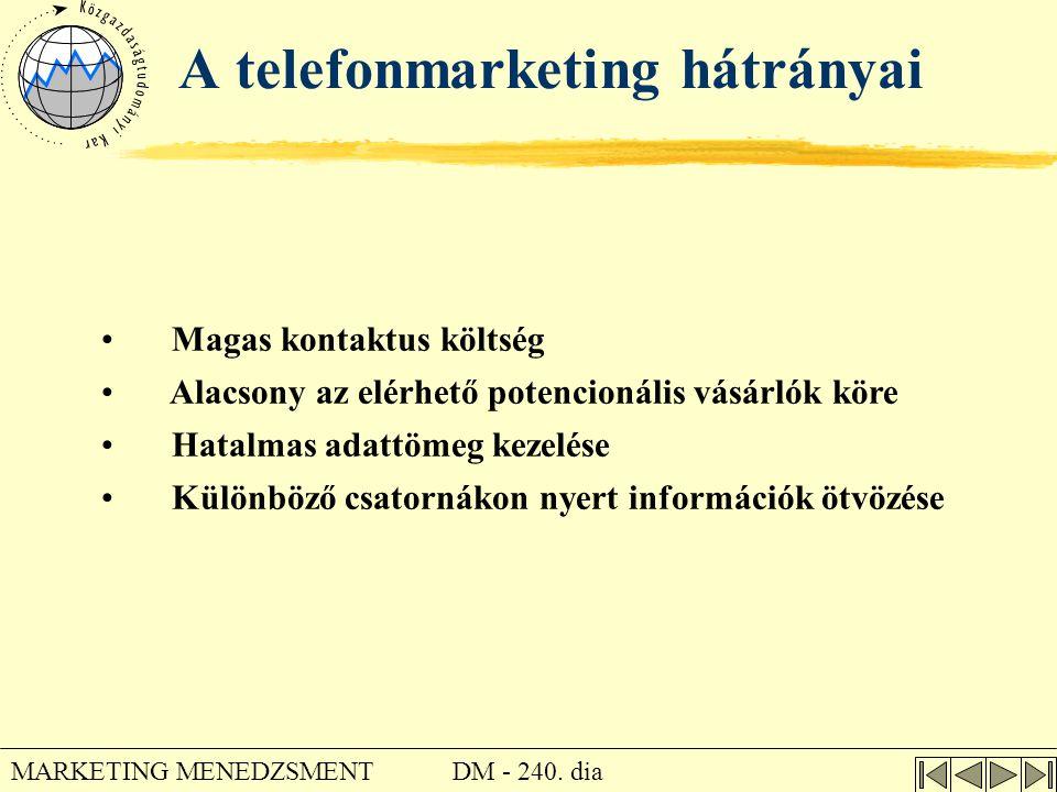 DM - 240. dia MARKETING MENEDZSMENT A telefonmarketing hátrányai • Magas kontaktus költség • Alacsony az elérhető potencionális vásárlók köre • Hatalm