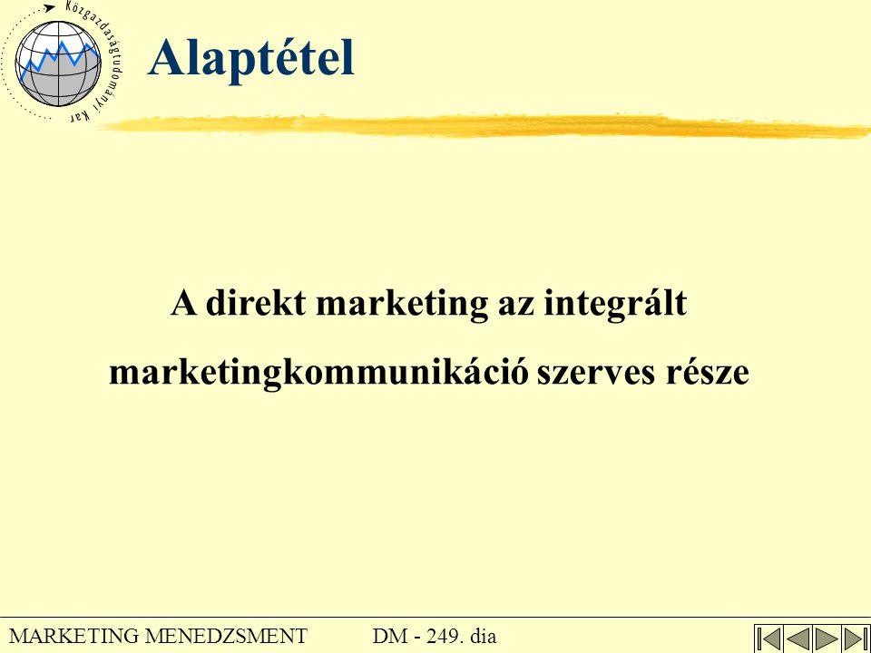 DM - 249. dia MARKETING MENEDZSMENT Alaptétel A direkt marketing az integrált marketingkommunikáció szerves része