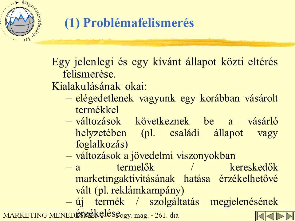 Fogy. mag. - 261. dia MARKETING MENEDZSMENT (1) Problémafelismerés Egy jelenlegi és egy kívánt állapot közti eltérés felismerése. Kialakulásának okai:
