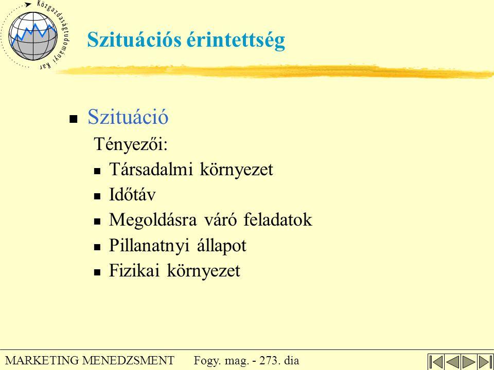 Fogy. mag. - 273. dia MARKETING MENEDZSMENT Szituációs érintettség  Szituáció Tényezői:  Társadalmi környezet  Időtáv  Megoldásra váró feladatok 